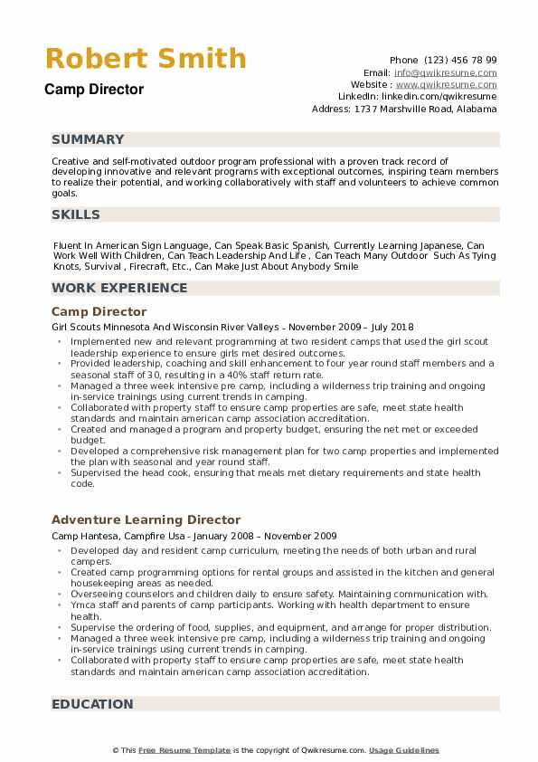 Camp Director Resume example