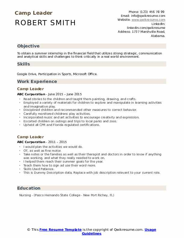 Camp Leader Resume example