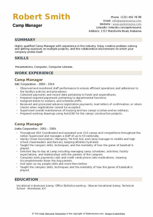 Camp Manager Resume example