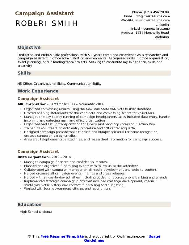 Campaign Assistant Resume example