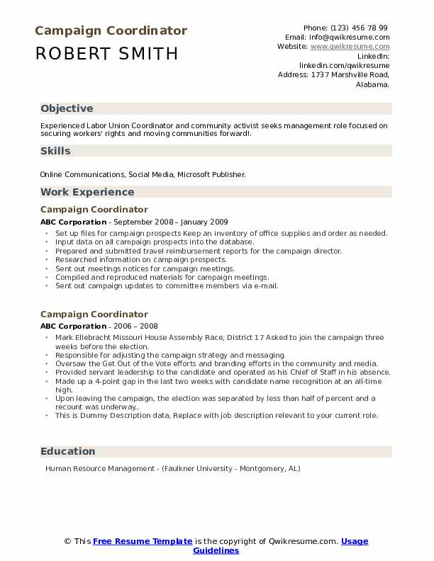 Campaign Coordinator Resume example