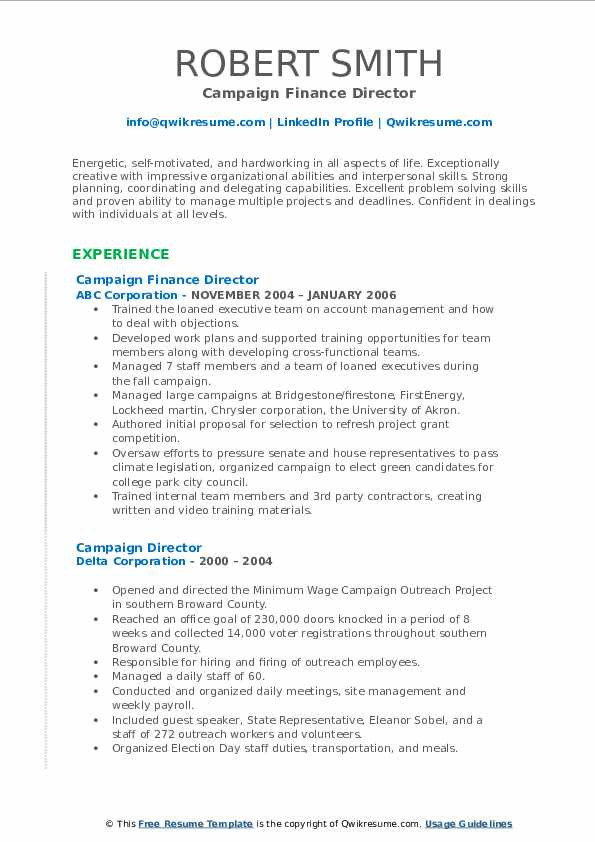 campaign director resume samples  qwikresume