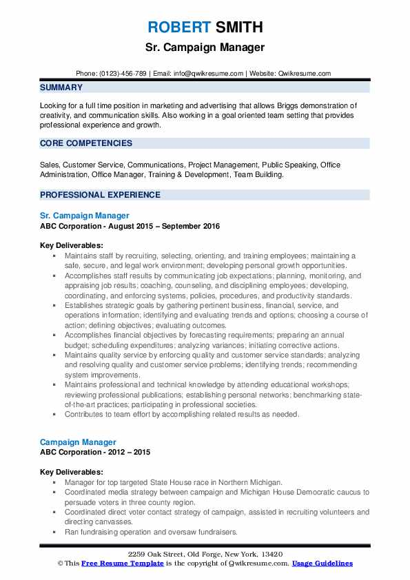 Sr. Campaign Manager Resume Example