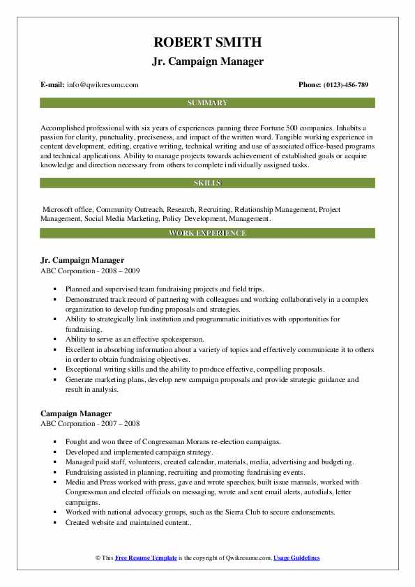 Campaign Manager Resume Samples Qwikresume