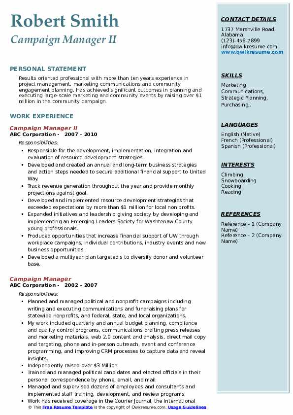 Campaign Manager II Resume Template