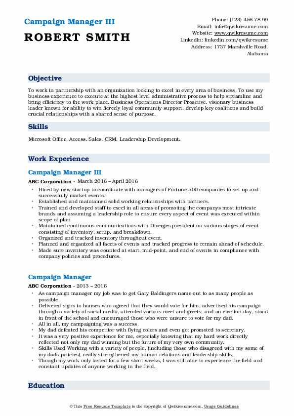Campaign Manager III Resume Template