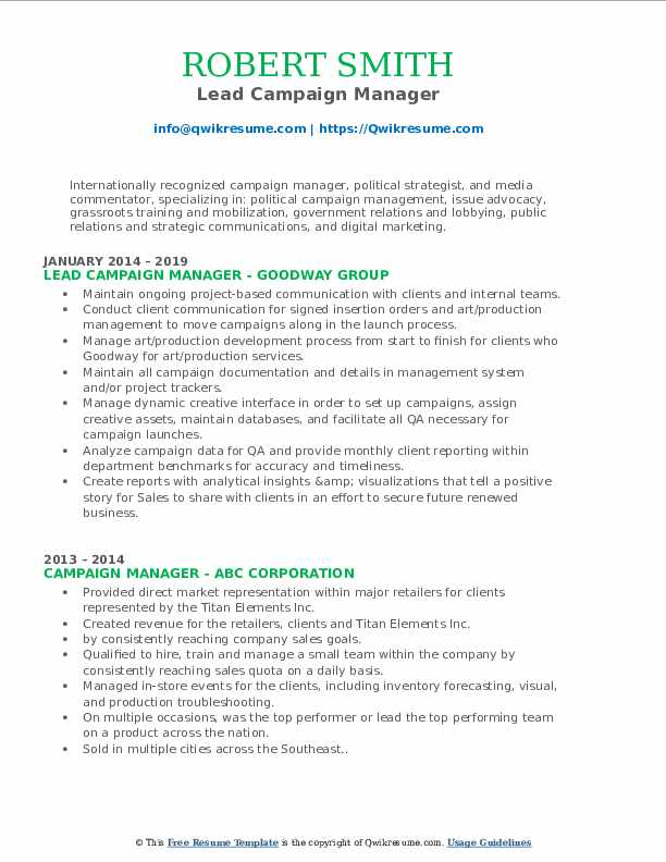 Lead Campaign Manager Resume Model