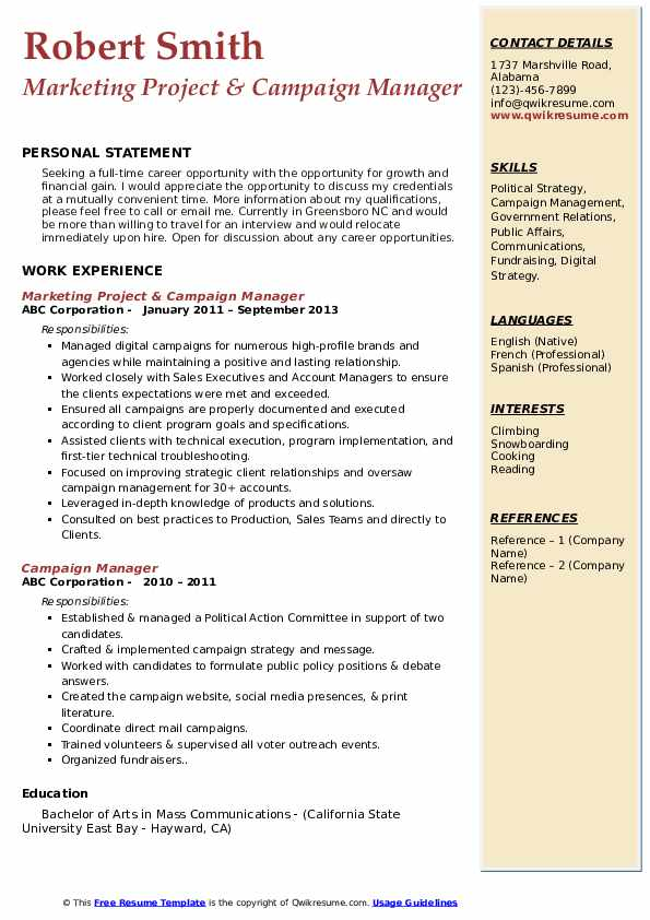 Marketing Project & Campaign Manager Resume Format