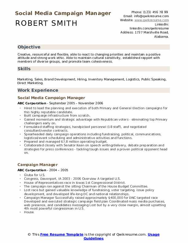 Social Media Campaign Manager Resume Example