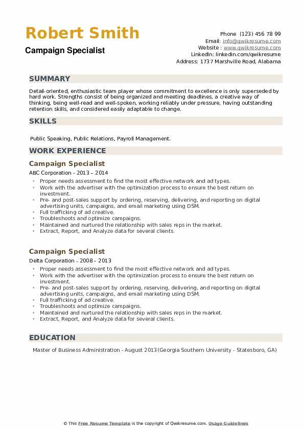 Campaign Specialist Resume example