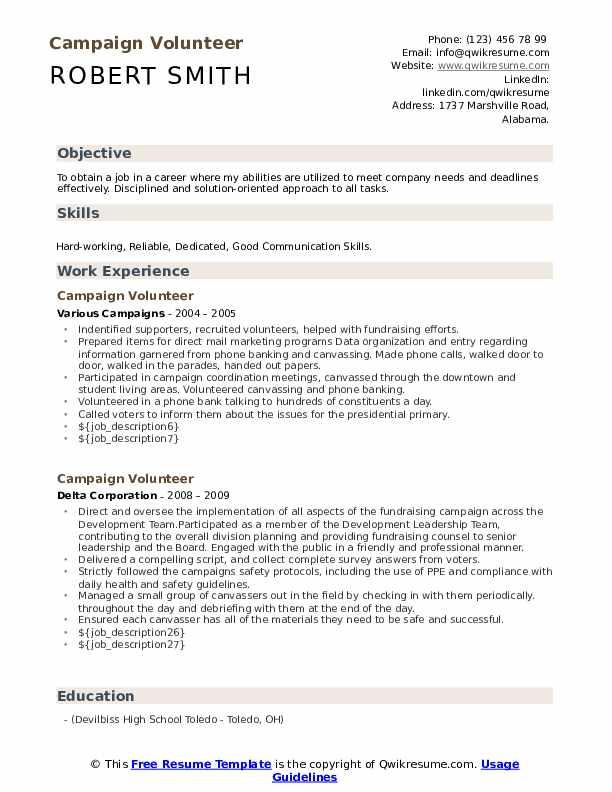 Volunteer campaign resume resume writing for dental hygienist