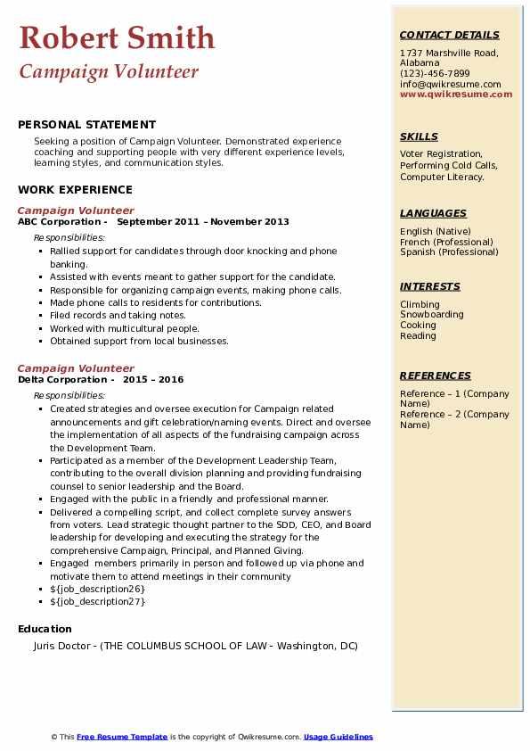 campaign volunteer resume samples  qwikresume