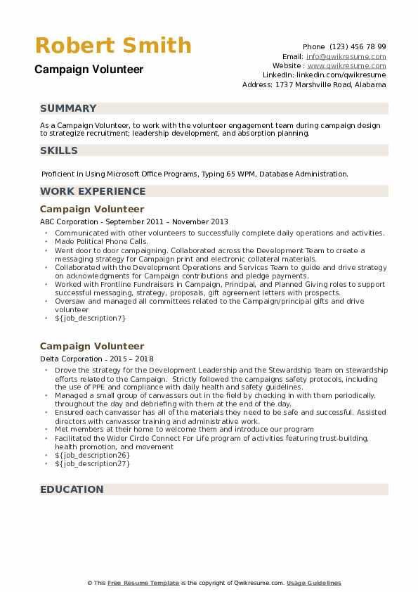 Volunteer campaign resume best masters essay ghostwriting service for college