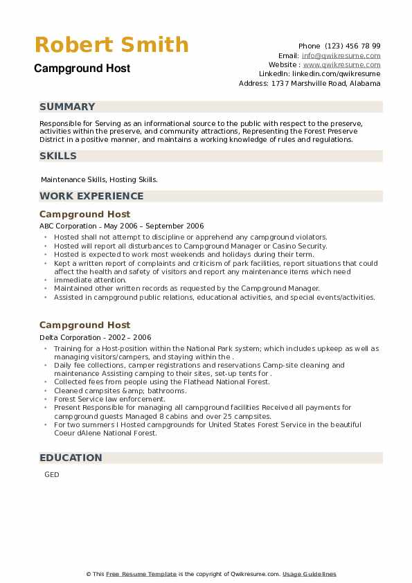 Campground Host Resume example