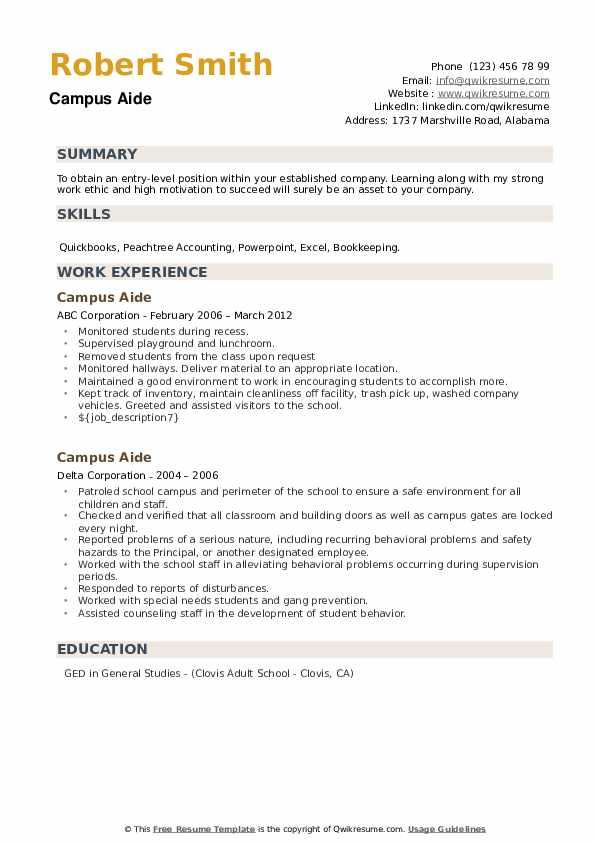 Campus Aide Resume example