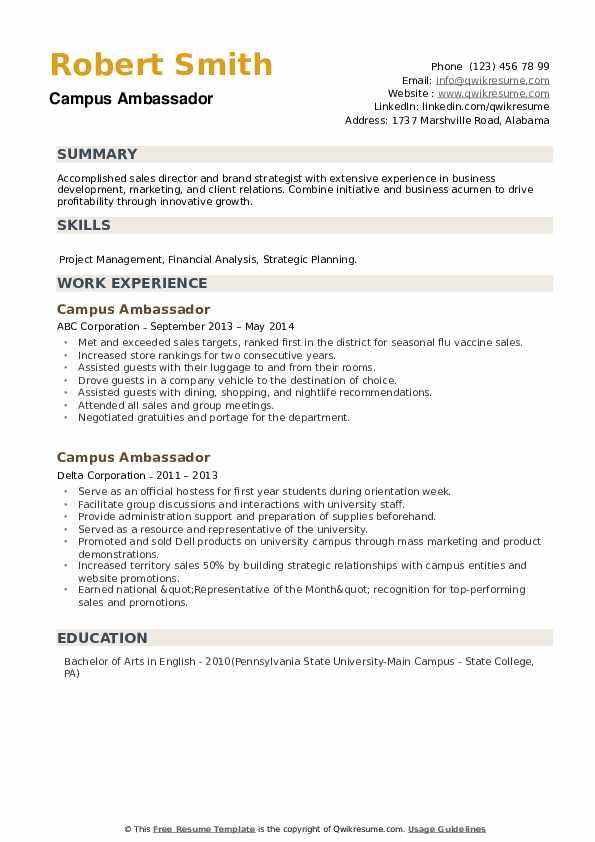 Campus Ambassador Resume example
