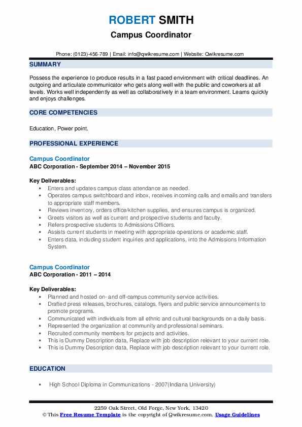 Campus Coordinator Resume example