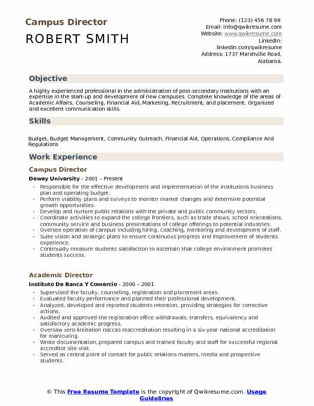 Campus Director Resume Template