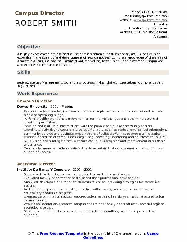 Campus Director Resume Samples | QwikResume
