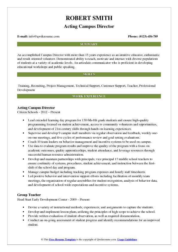 Acting Campus Director Resume Sample