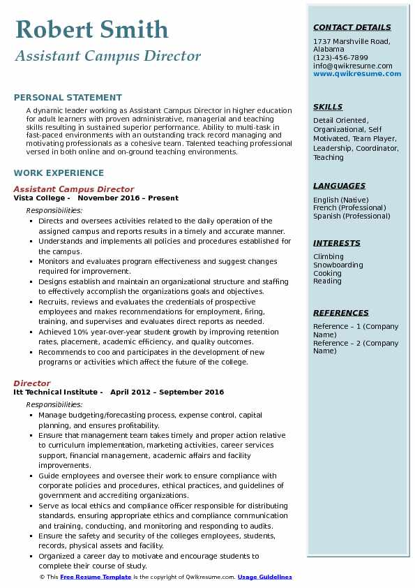 Assistant Campus Director Resume Example