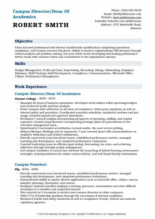 Campus Director/Dean Of Academics Resume Model