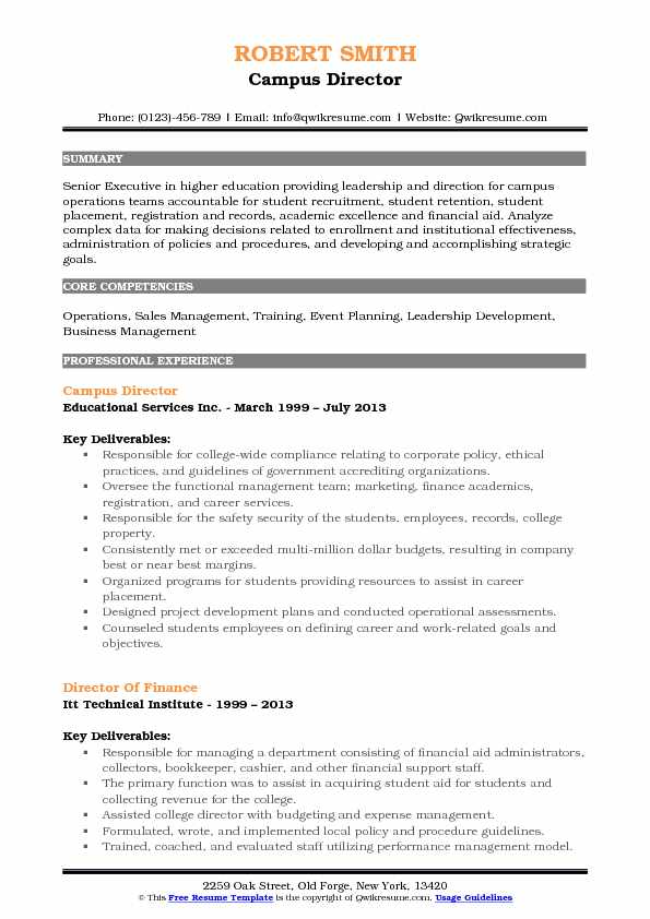 Campus Director Resume Example