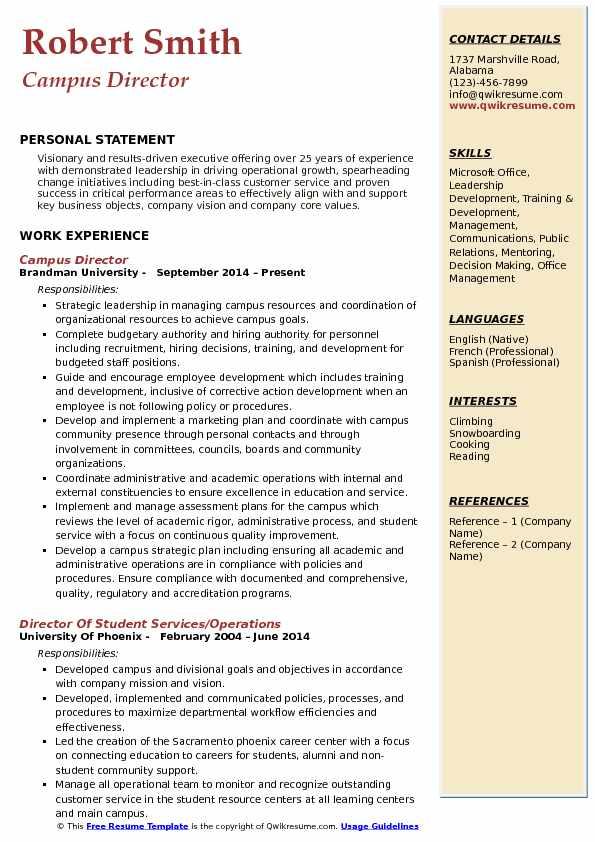 Campus Director Resume Example