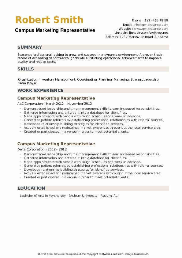 Campus Marketing Representative Resume example
