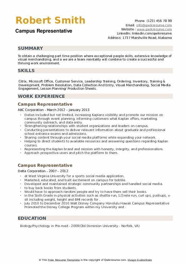 Campus Representative Resume example
