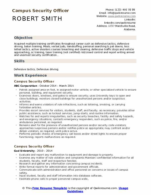 Campus Security Ficer Resume Samples