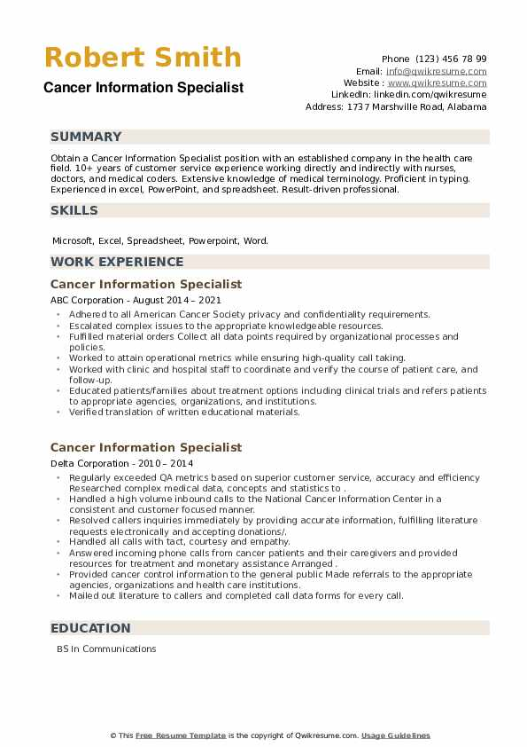 Cancer Information Specialist Resume example