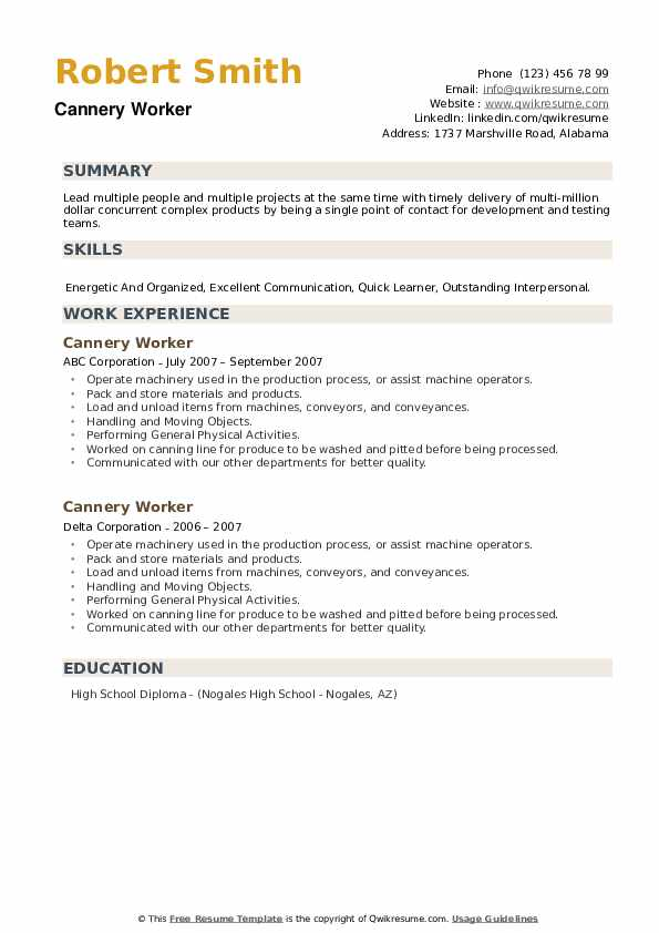 Cannery Worker Resume example