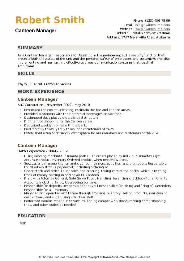 Canteen Manager Resume example