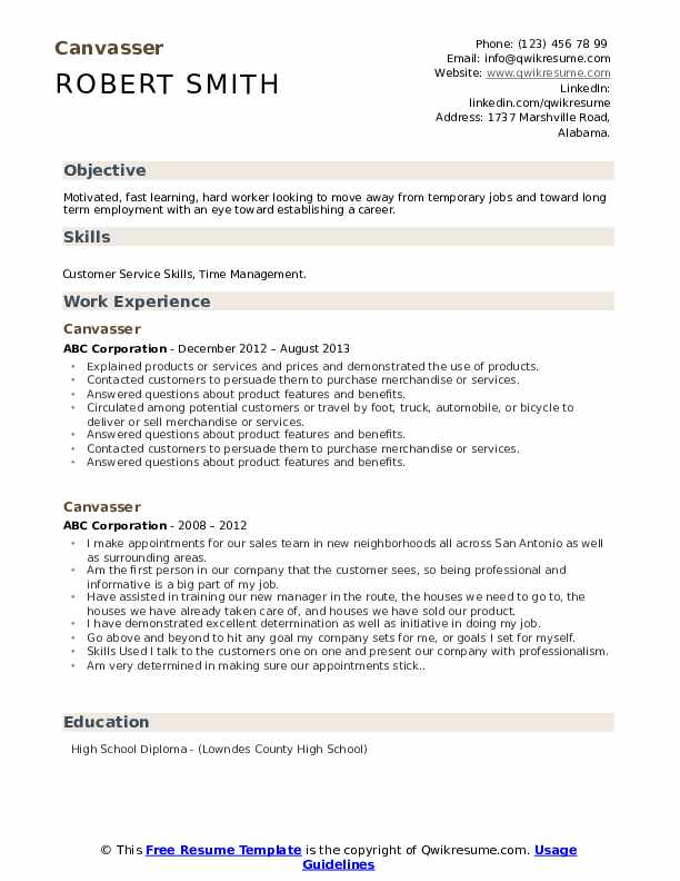 Canvasser Resume example