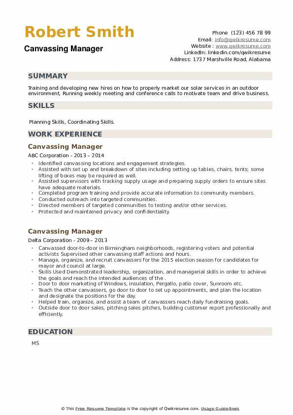 Canvassing Manager Resume example