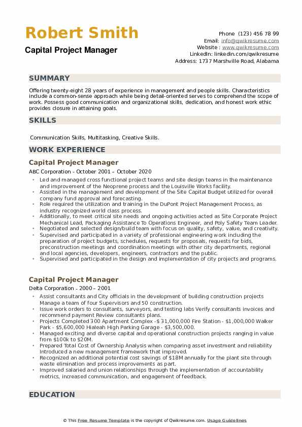 Capital Project Manager Resume example
