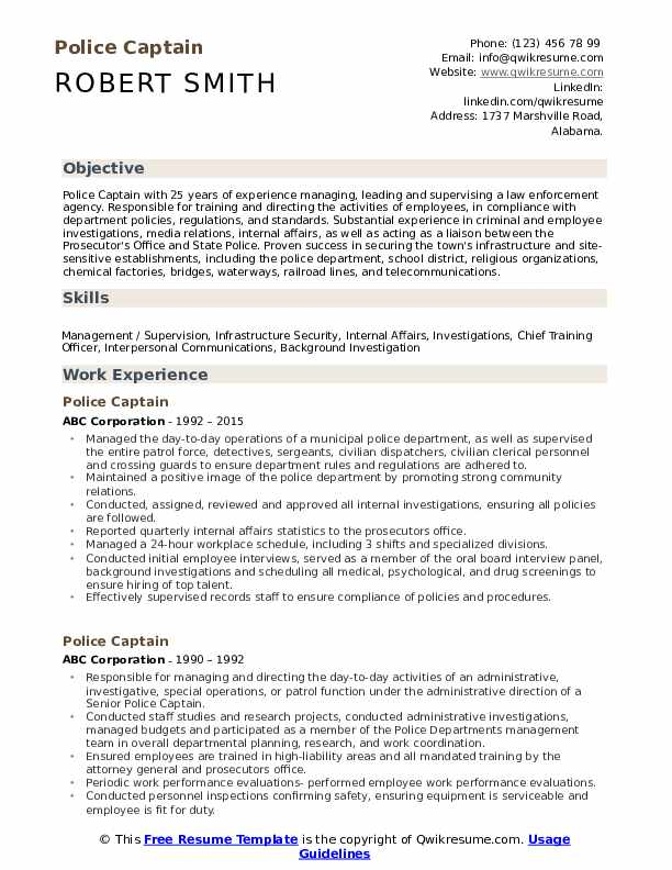Police Captain Resume Template