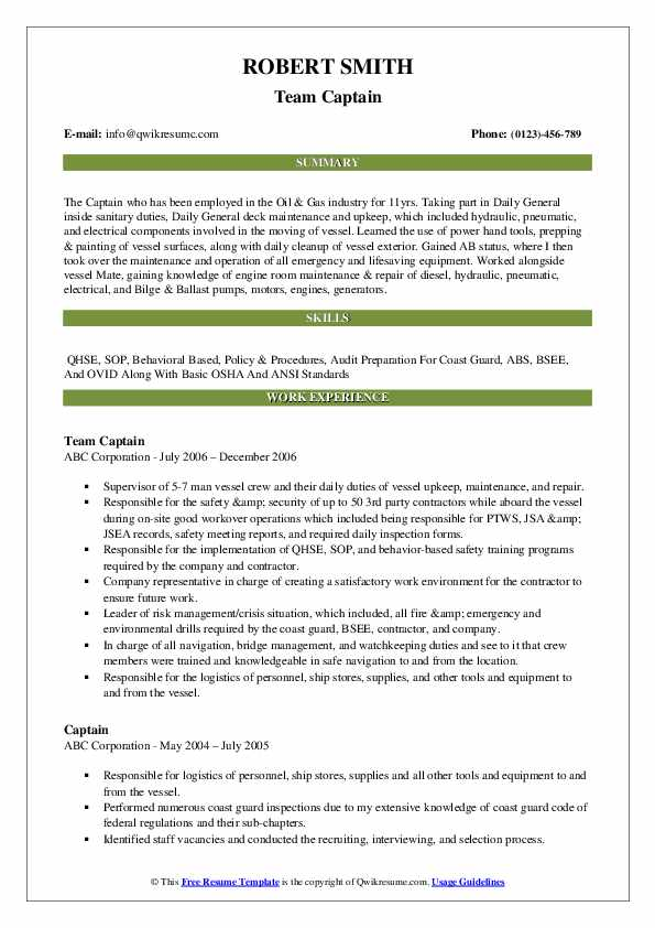 Team Captain Resume Format