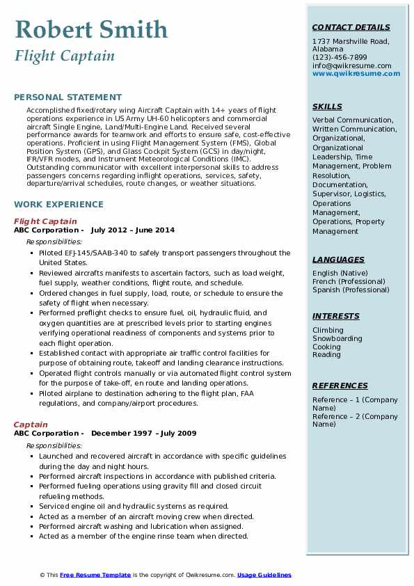 Flight Captain Resume Example