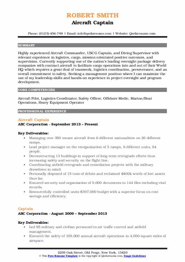 Aircraft Captain Resume Format