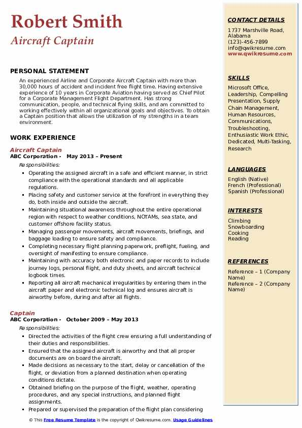 Aircraft Captain Resume Template