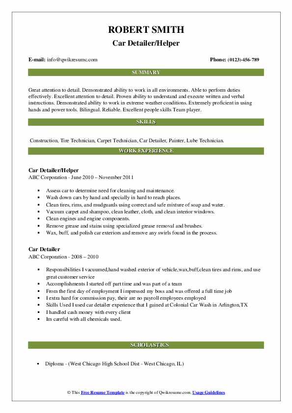 Car Detailer/Helper Resume Example