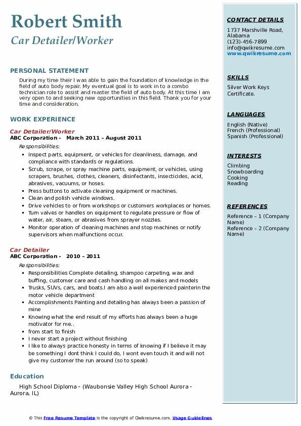Car Detailer/Worker Resume Model