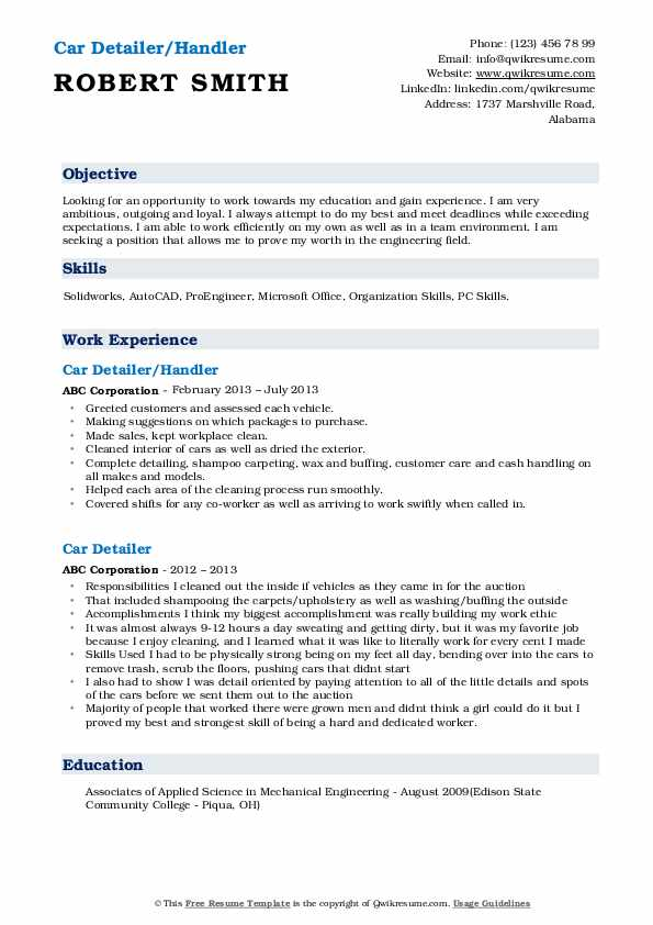 Car Detailer/Handler Resume Sample