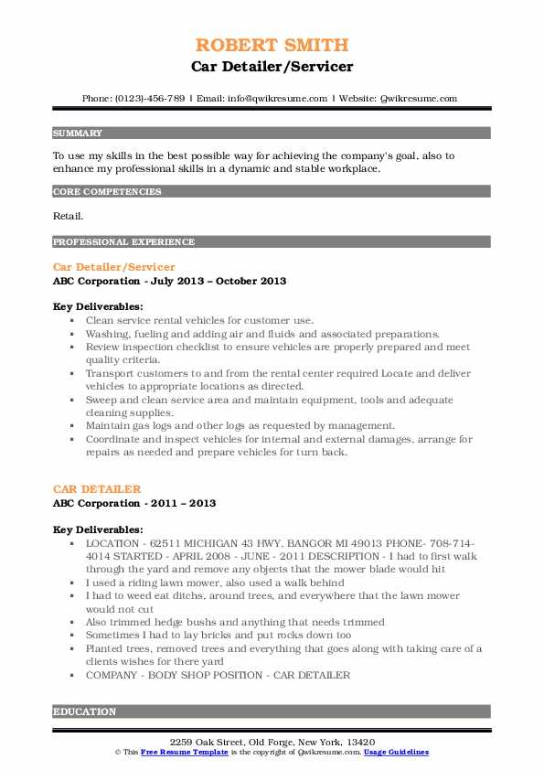 Car Detailer/Servicer Resume Example