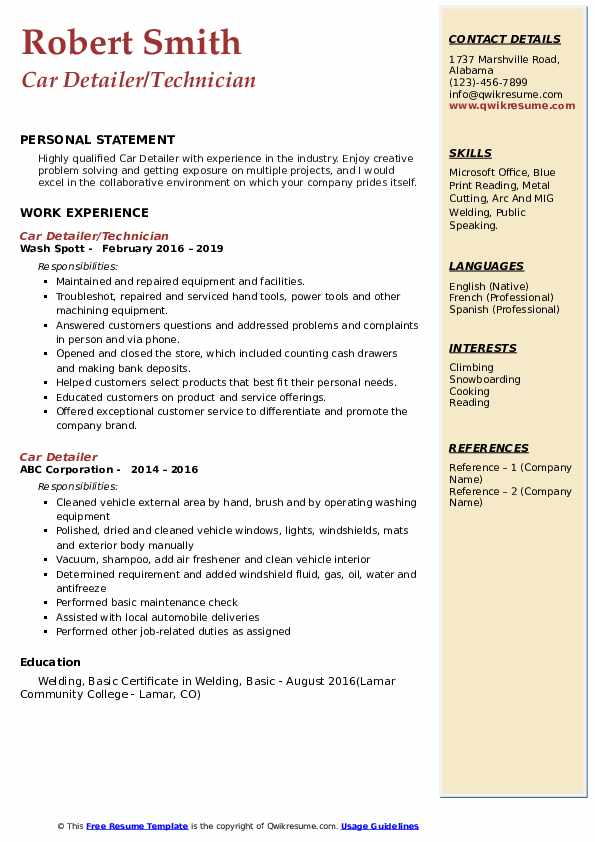 Car Detailer/Technician Resume Model