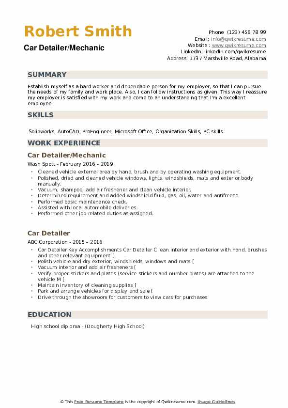 Car Detailer/Mechanic Resume Template