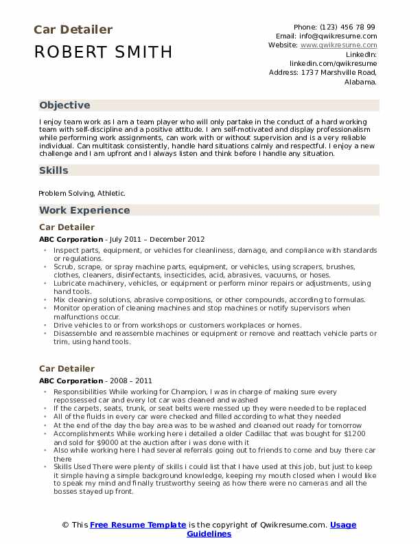 Car Detailer Resume Samples Qwikresume