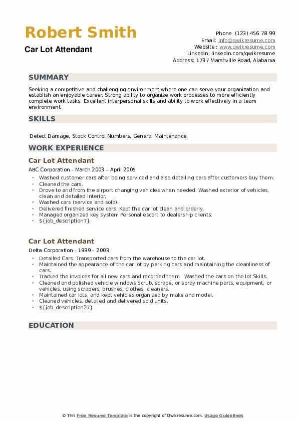 Car Lot Attendant Resume example